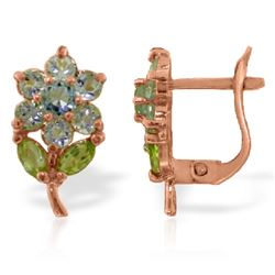 Genuine 2.12 ctw Aquamarine & Pearl Earrings Jewelry 14KT Rose Gold - REF-41H4X