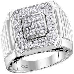 0.33 CTW Mens Pave-set Diamond Square Cluster Ring 10KT White Gold - REF-75N2F