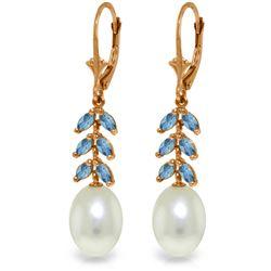Genuine 9.2 ctw Blue Topaz Earrings Jewelry 14KT Rose Gold - REF-45M8T