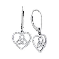0.23 CTW Diamond Triquetra Heart Trinity Dangle Earrings 10KT White Gold - REF-22N4F