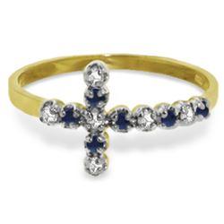 Genuine 0.24 ctw Sapphire & Diamond Ring Jewelry 14KT Yellow Gold - REF-35P2H