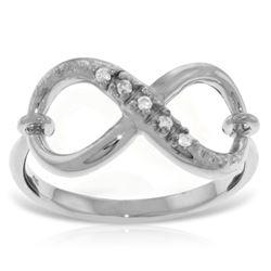 Genuine 0.03 ctw Diamond Anniversary Ring Jewelry 14KT White Gold - REF-46X7M