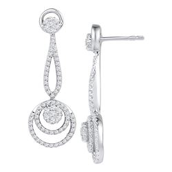 1 CTW Diamond Circle Cluster Dangle Earrings 10KT White Gold - REF-101F9N