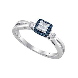 0.16 CTW Princess Blue Color Diamond Fashion Ring 14KT White Gold - REF-32X9Y