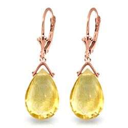 Genuine 10.20 ctw Citrine Earrings Jewelry 14KT Rose Gold - REF-28M9T