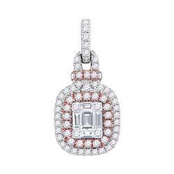 0.40 CTW Pink Diamond Square Cluster Fashion Pendant 18KT Rose Gold - REF-172M4H