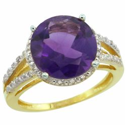 Natural 5.34 ctw Amethyst & Diamond Engagement Ring 14K Yellow Gold - REF-45W5K