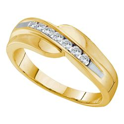 0.25 CTW Mens Diamond Curved Wedding Anniversary Ring 14KT Yellow Gold - REF-37K5W