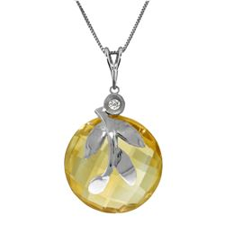 Genuine 5.32 ctw Citrine & Diamond Necklace Jewelry 14KT White Gold - REF-31P2H