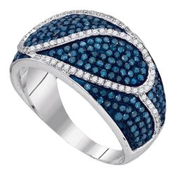 1.1 CTW Blue Color Diamond Ring 10KT White Gold - REF-67M4H