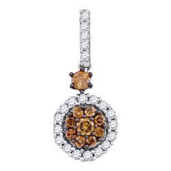 0.50 CTW Cognac-brown Color Diamond Cluster Pendant 14KT White Gold - REF-30X2Y