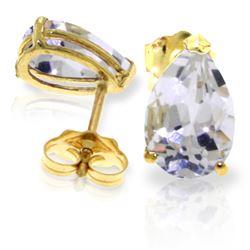 Genuine 3.15 ctw White Topaz Earrings Jewelry 14KT Yellow Gold - REF-21N2R