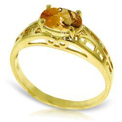 Genuine 1.15 ctw Citrine Ring Jewelry 14KT Yellow Gold - REF-32F3Z