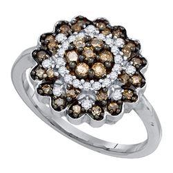 0.65 CTW Cognac-brown Color Diamond Flower Cluster Ring 10KT White Gold - REF-41F9N