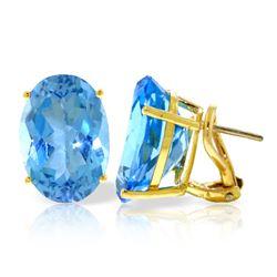 Genuine 16 ctw Blue Topaz Earrings Jewelry 14KT Yellow Gold - REF-60A4K