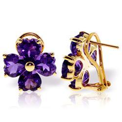 Genuine 6.5 ctw Amethyst Earrings Jewelry 14KT Yellow Gold - REF-80W6Y