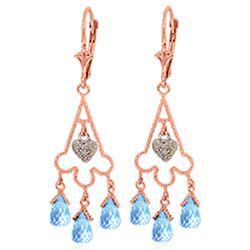 Genuine 4.83 ctw Blue Topaz & Diamond Earrings Jewelry 14KT Rose Gold - REF-52R7P