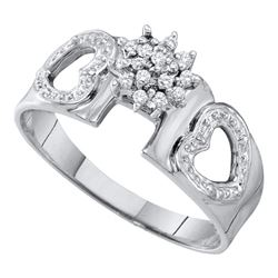 0.10 CTW Diamond Heart Love Ring 10KT White Gold - REF-14Y9X