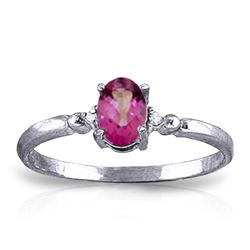Genuine 0.46 ctw Pink Topaz & Diamond Ring Jewelry 14KT White Gold - REF-27Y3F