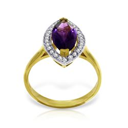 Genuine 1.80 ctw Amethyst & Diamond Ring Jewelry 14KT Yellow Gold - REF-70X5M