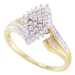 0.12 CTW Prong-set Diamond Oval Cluster Ring 10KT Yellow Two-tone Gold - REF-18W2K