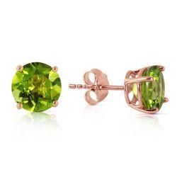 Genuine 3.1 ctw Peridot Earrings Jewelry 14KT Rose Gold - REF-23X9M