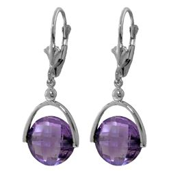 Genuine 6.5 ctw Amethyst Earrings Jewelry 14KT White Gold - REF-43P4H