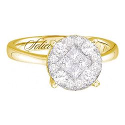 0.50 CTW Princess Diamond Soleil Bridal Engagement Ring 14KT Yellow Gold - REF-67M4H