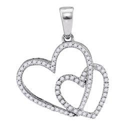 0.20 CTW Diamond Double Heart Love Pendant 10KT White Gold - REF-18M2H