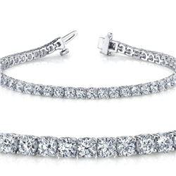 Natural 5.02ct VS-SI Diamond Tennis Bracelet 18K White Gold - REF-452H5Y