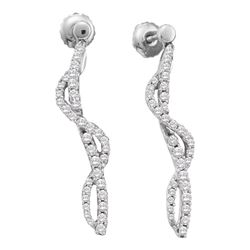 0.75 CTW Diamond Curved Stick Screwback Earrings 14KT White Gold - REF-82Y4X