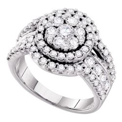 2.01 CTW Diamond Flower Cluster Cluster Ring 14KT White Gold - REF-206W9K