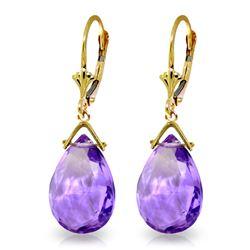 Genuine 10.20 ctw Amethyst Earrings Jewelry 14KT Yellow Gold - REF-28T9A