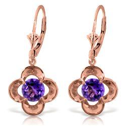 Genuine 1.10 ctw Amethyst Earrings Jewelry 14KT Rose Gold - REF-37M7T