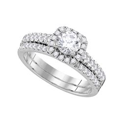 1.25 CTW Diamond Halo Bridal Engagement Ring 14KT White Gold - REF-299N9F