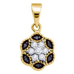 0.22 CTW Black Color Diamond Hexagon Cluster Pendant 10KT Yellow Gold - REF-10Y5X