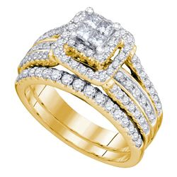 1.2 CTW Princess Diamond Bridal Engagement Ring 14KT Yellow Gold - REF-157H5M