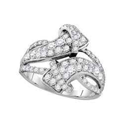 1.5 CTW Pave-set Diamond Bypass Strand Ring 14KT White Gold - REF-134N9F