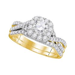 1 CTW Diamond Halo Bridal Engagement Ring 14KT Yellow Gold - REF-172Y4X