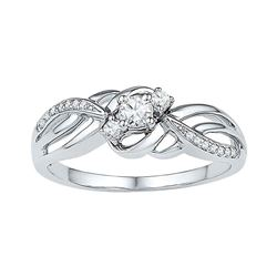 0.25 CTW Diamond 3-stone Bridal Engagement Ring 10KT White Gold - REF-26X9Y