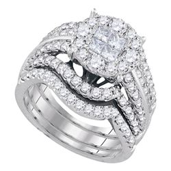 2.52 CTW Princess Diamond Soleil Bridal Engagement Ring 14KT White Gold - REF-269K9W