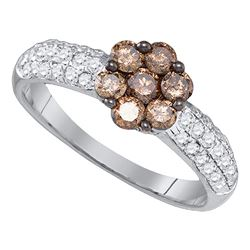0.92 CTW Cognac-brown Color Diamond Flower Cluster Ring 10KT White Gold - REF-47Y9X