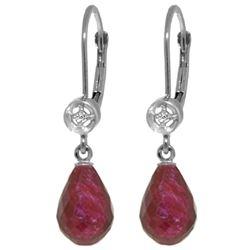 Genuine 6.63 ctw Ruby & Diamond Earrings Jewelry 14KT White Gold - REF-29A7K