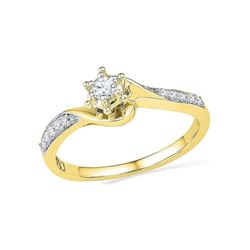 0.16 CTW Diamond Solitaire Bridal Engagement Ring 10KT Yellow Gold - REF-19W4K