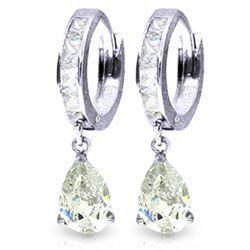 Genuine 4.2 ctw White Topaz Earrings Jewelry 14KT White Gold - REF-50M9T