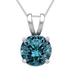 14K White Gold Jewelry 1.01 ct Blue Diamond Solitaire Necklace - REF#186G8M-WJ13321