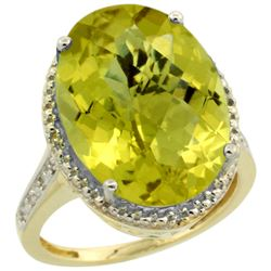 Natural 13.6 ctw Lemon-quartz & Diamond Engagement Ring 14K Yellow Gold - REF-68R4Z