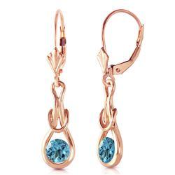 Genuine 1.30 ctw Blue Topaz Earrings Jewelry 14KT Rose Gold - REF-49K3V