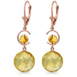 Genuine 11.60 ctw Citrine Earrings Jewelry 14KT Rose Gold - REF-47N5R