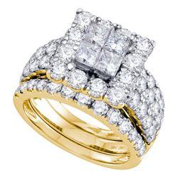 4 CTW Princess Diamond Square Halo 3-Piece Bridal Ring 14KT Yellow Gold - REF-420K2W